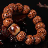 佛珠天然打磨扇形大金刚菩提单圈男士盘玩手串五5瓣菩提批发