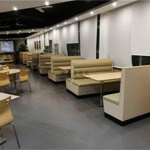 韶关校园餐厅食堂用的卡座沙发和餐桌椅子定做案例