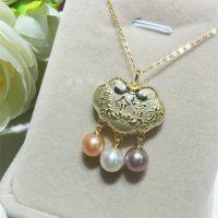 新品 平安富贵长命锁S925银7.5-8MM圆形珍珠镶嵌配礼盒批发