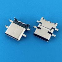 TYPE-C沉板居中/破板1.98mm/USB 3.1母座/DIP+SMT/24PIN/四脚插板