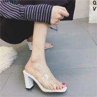 2018夏季新款韩版女凉拖高跟粗跟鱼嘴凉鞋百搭白色女凉鞋女士拖鞋