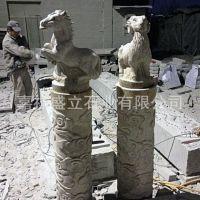 生产加工城市广场石龙柱 石雕龙凤柱 十二生肖石头柱子