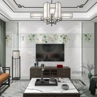 缇香大理石渗墨大板微晶石电视背景墙电视客厅现代简约新中式墙砖