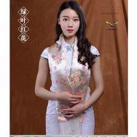 中国桑蚕丝锦缎工艺披肩卡卡贝宁品牌围脖奢侈高端礼品送老外围巾