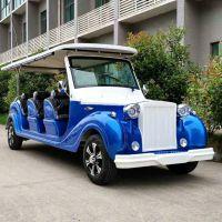 厂家直销AS-0012 12人座蓝色四轮电动老爷车电动观光车电瓶车