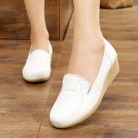 护士鞋女白色 真皮牛筋底坡跟软底单鞋2017新款小白鞋中跟透气