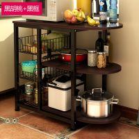 厨房多层微波炉置物架多功能厨房木板烤箱架子储物架收纳架落地