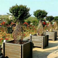 厂家批发生产公园方形仿木花箱 可定制混凝土花箱