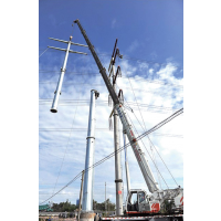福州市益瑞钢杆厂家110kv双回路电力钢杆 转角钢杆 终端钢杆 金属钢杆 钢桩基础 基业