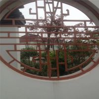 太原港式铝花格装饰 仿古木纹铝窗花定制厂家