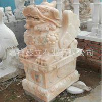 厂家供应精美石雕貔貅 晚霞红貔貅 招财精品动物貔貅