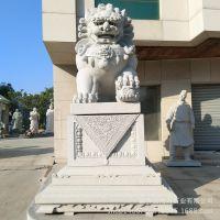 石雕狮子定做厂家 花岗岩动物雕刻厂家直销 景观雕塑
