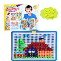 跨境创意296粒蘑菇钉玩具 儿童巧巧钉拼图3-7岁拼插板组合幼儿园