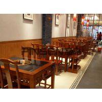 定制老榆木大理石面火锅桌椅组合实木柜下沉式老火锅料理店餐桌椅现代中式