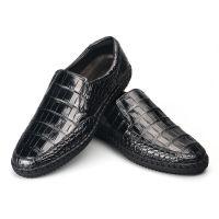 厂家直销编织进口泰国鳄鱼皮鞋男士真鳄鱼肚皮休闲皮鞋纯手工皮鞋