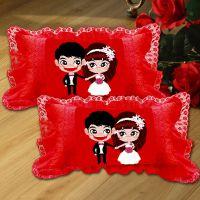 A-KS卡通动漫十字绣抱枕套一对结婚款婚礼婚庆情侣新款枕头套靠垫