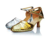 厂家直销新款舞蹈鞋新款女式成人中低跟拉丁舞鞋耐磨舒适考级舞鞋
