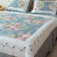 田园系列韩式绗缝被三件套床单夹棉双人单件1.8/2米床盖床上用品