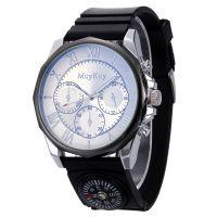 新款大表盘男士手表时尚户外硅胶表带上镶指南针休闲军表石英腕表