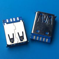 蓝胶芯/焊线式3.0 AF母座9P USB 3.0短体 180度焊线母座 卷边 - 日宝