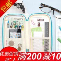 笔袋文具女生男生高中初中学生用的简约大容量扁平帆布纯色小清新