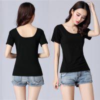 大领口薄款夏季新款女短袖打底衫大码t恤韩版弹力黑色低领上衣潮