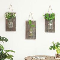 美式乡村木质水培木板壁挂 家居装饰客厅墙上绿植玻璃瓶阳台挂件