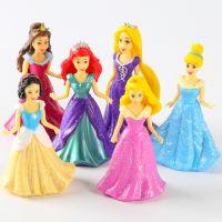 白雪公主灰姑娘6款娃娃实心玩偶女孩过家家玩具桌面摆件手办