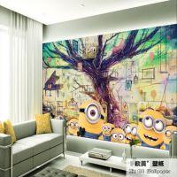 3D立体主题环保卡通儿童房壁纸 卧室电视背景墙纸小黄人大型壁画