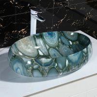 潮州陶瓷洗手盆彩色绿色椭圆一体卫浴脸盆