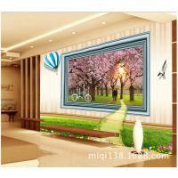 大型壁画浪漫樱花墙纸3d立体个性定制壁纸电视卧室床头温馨背景