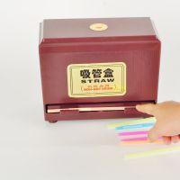 奶茶吸管盒 塑料仿木可调节自动吸管收纳盒子餐厅饮料奶茶店用品