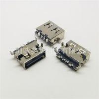 大电流 USB AF母座沉板1.9 四脚插板 端子贴片长度L11.0 端子磷铜