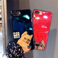 创意卡通iphone8手机壳X 苹果6s蓝光7plus创意小狗斗牛犬8P软潮女