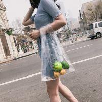 透明包PVC购物袋便当包手提袋韩国新款水果袋拍照ins人气款沙滩包