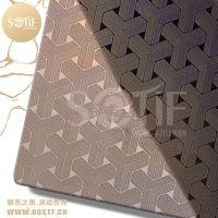 上海电梯轿厢装饰镜面古铜色不锈钢蚀刻板3D花纹效果