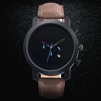 热卖新款 时尚霸气男士商务休闲石英带历腕表 真皮表带运动手表
