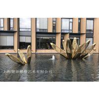 景德镇304不锈钢镂空雕塑香槟金拉丝表面效果 房地产水景景观雕塑