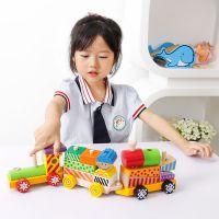 儿童几何拼装拆卸积木实木火车宝宝玩具1-4岁早教积木 儿童玩具