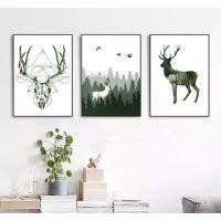 北欧现代简约油画麋鹿照片墙无框装饰画客厅酒店卧室画芯厂家定制