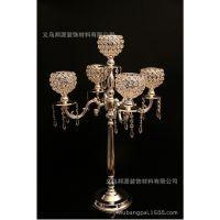 75H高欧式现代金属水晶五头餐桌婚庆烛台装饰道具可定做尺寸