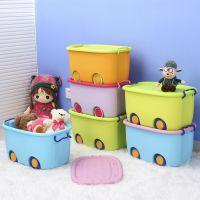 卡通收纳箱加厚塑料儿童衣物整理箱玩具储物箱带轮有盖箱子