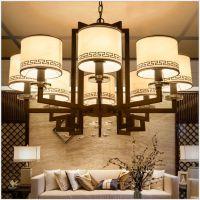 新中式现代简约客厅灯具LED吸顶灯铁艺卧室书房餐厅 吊灯批发