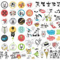 卡通可爱儿童Q版小怪兽外星人猫狗动物T恤印花图案喷印刷矢量素材