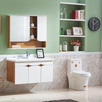2018新款实木浴室柜卫生间定制陶瓷一体洗手盆简约现代卫浴柜批发