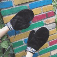 手套冬季新款可爱卡通保暖学生麋鹿手套圣诞韩国加绒针织挂脖手套