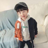 2018春季新品 韩版时尚男童中小童拼色防水棒球服外套