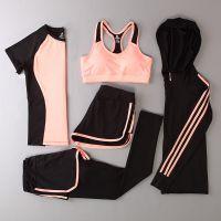 健身房女宽松跑步速干瑜伽套装春夏散步晨练晨跑服锻炼运动衣服
