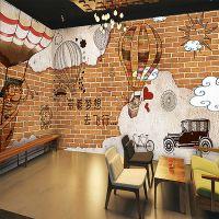 无缝大型墙纸3d立体壁画电视背景墙手绘砖墙咖啡厅壁纸装修主材