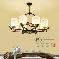 新中式客厅吊灯小鸟轻奢现代简约铁艺餐厅书房大厅创意中国风灯具